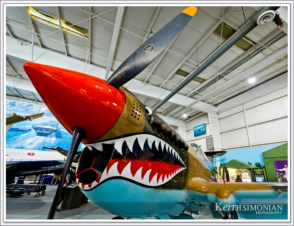 Curtiss P40 Warhawk displayed in Palm Springs Air museum.
