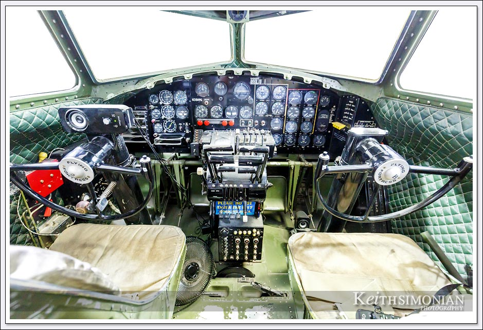 Cockpit of B-17 bomber on display at Palm Springs Air Museum.