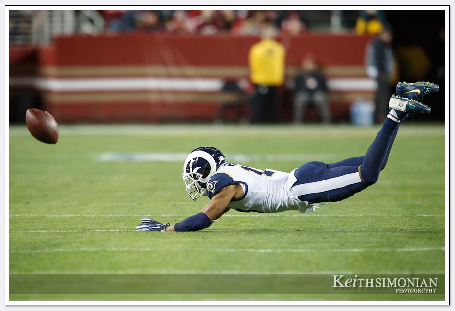 Incomplete pass to Los Angeles Ram #17 Robert Woods against the San Francisco 49ers on December 21, 2019 at Levi's stadium.