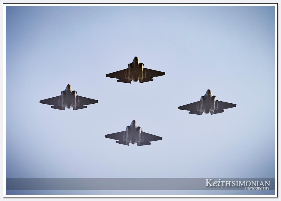 Four United States Navy F-35 Lightening II Fighter Jets fly over Levi's stadium on January 11th, 2020 during the Divisional playoff game.