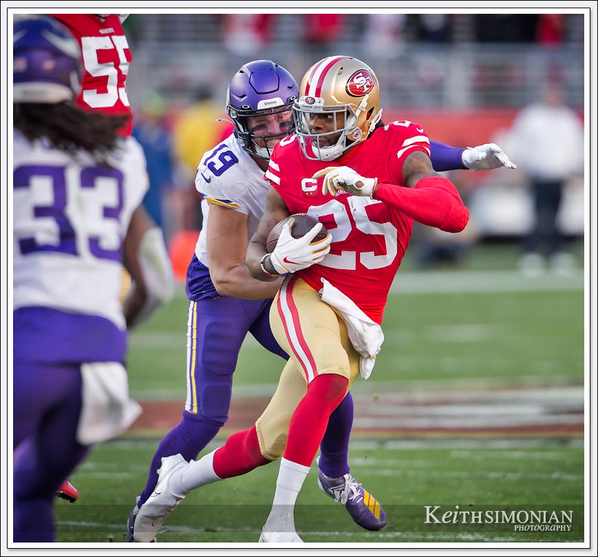 San Francisco 49ers #25 Richard Sherman intercepts a Kirk Cousin pass and returns it for 13 against the Minnesota Vikings on January 11th, 2020 at Levi's Stadium in Santa Clara, CA.