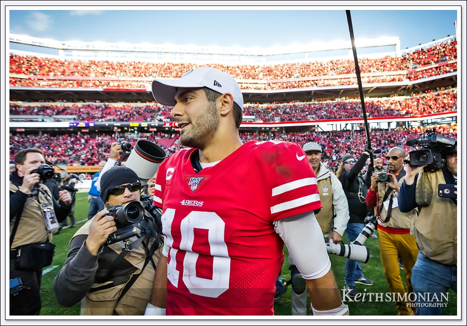 San Francisco 49er quarterback #10 Jimmy Garoppolo celebrates after a victory over the Minnesota Vikings on January 11th, 2020 at Levi's Stadium in Santa Clara, California.