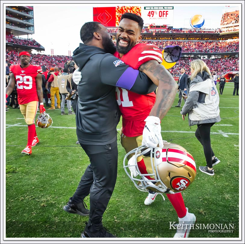 San Francisco 49er running back #31 Raheem Mostert celebrates the 49er victory on the field after the game at Levi's Stadium on January 11th, 2020.