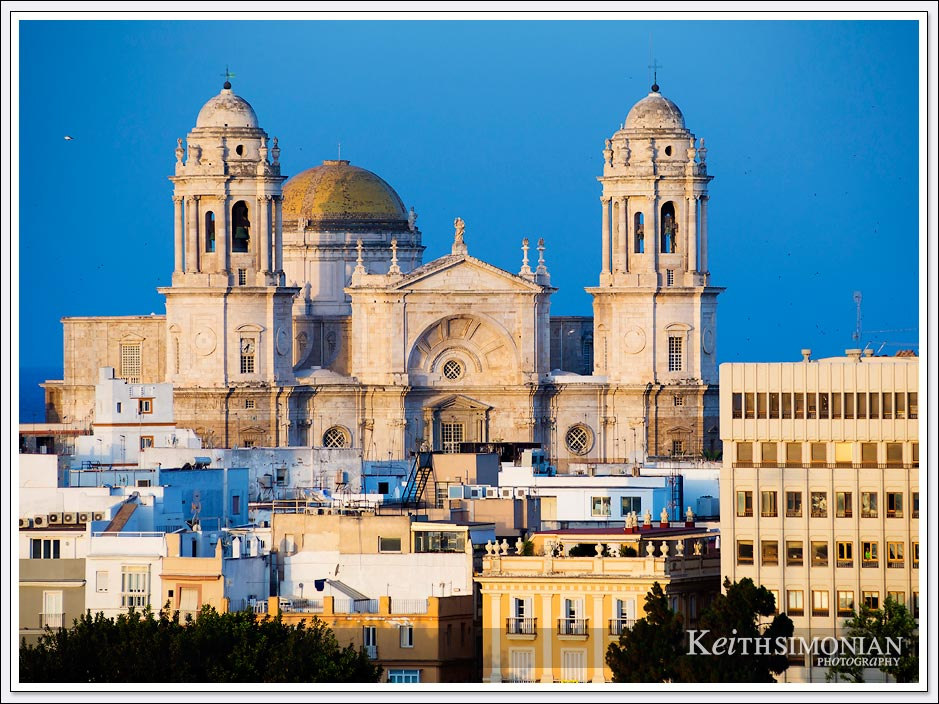 Telephoto view of Catedral de Cádiz - Cadiz, Spain.