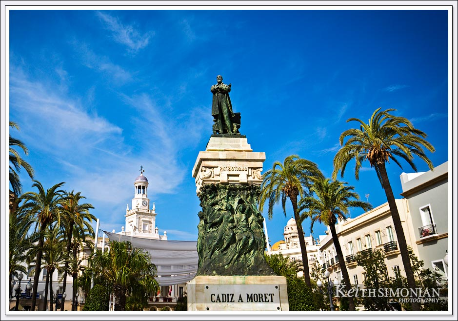 Monument to the politician Segismundo Moret in the city of Cadiz Spain.