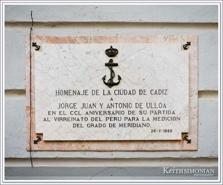 Plaque in the cit of Cadiz Spain.
