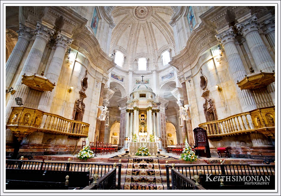 The main alter of Cadiz Cathedral in Cadiz Spain
