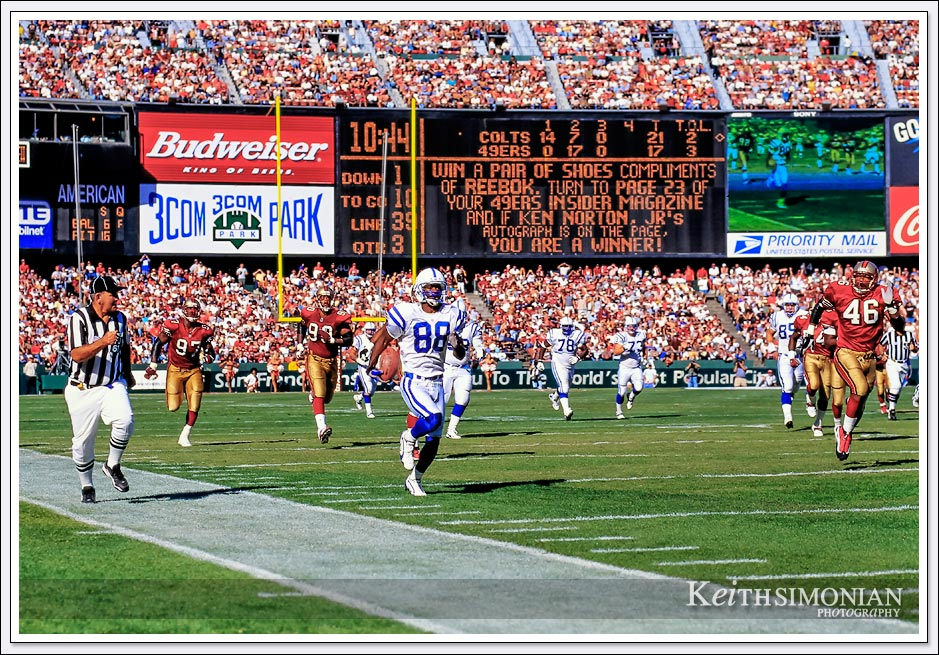 Indianapolis Colt #88 Marvin Harrison streak down field for a 61 yard touchdown reception against the San Francisco 49ers - October 18th, 1998 - Candlestick Park