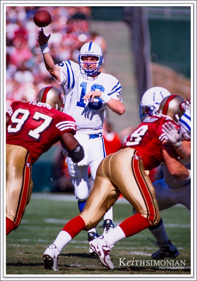 #18 Peyton Manning in his rookie years playing against the San Francisco 49ers - October 18th, 1998 - Candlestick Park