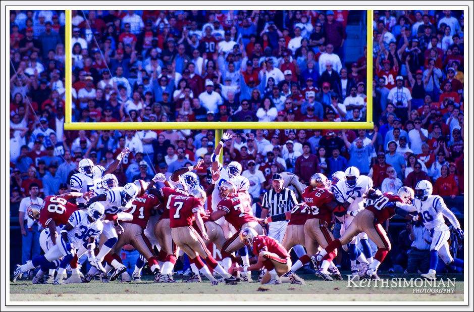 Game winning field goal by San Francisco 49er Wade Richey against the Indianapolis Colts. - October 18, 1998 - Candlestick Park