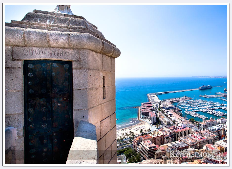 Lookout post on the Santa Bárbara Castle atop Alicante, Spain.