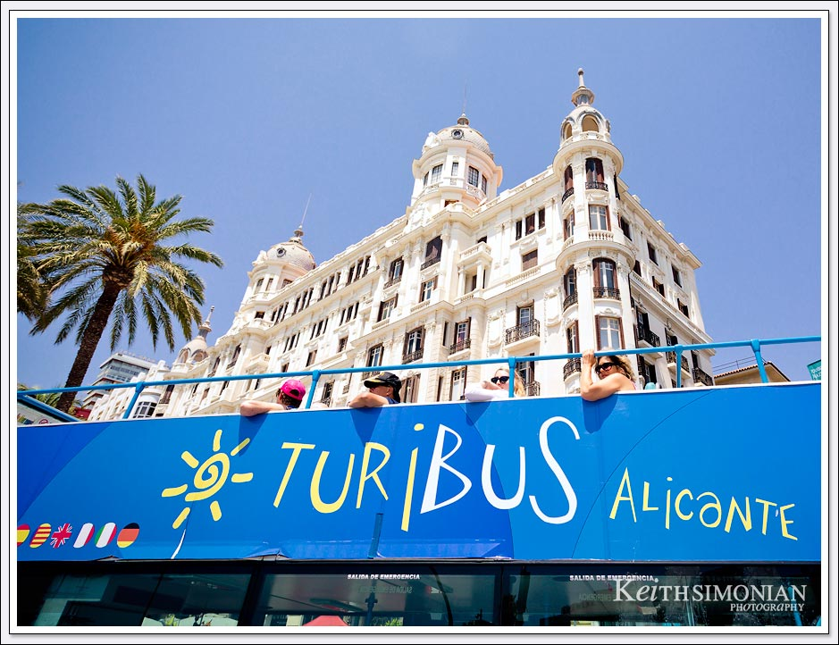 Turibas showing visitors the sites of Alicante, Spain.