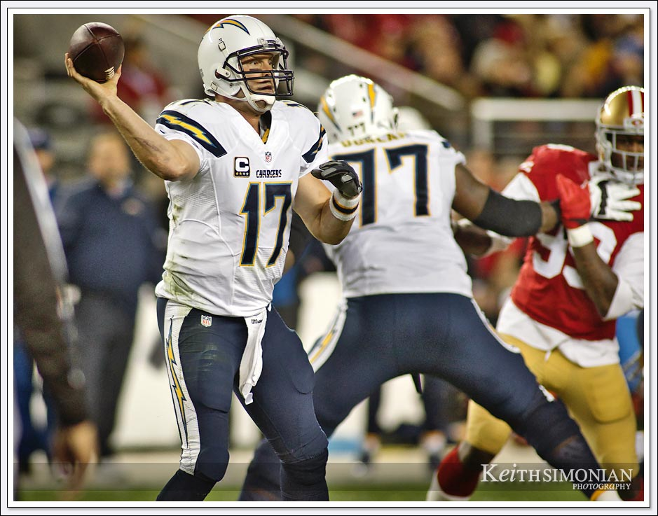 Phillip rivers #17 passes downfield against the San Francisco 49ers at Levi's Stadium