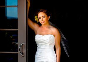 Portrait of Bride in Parents backyard