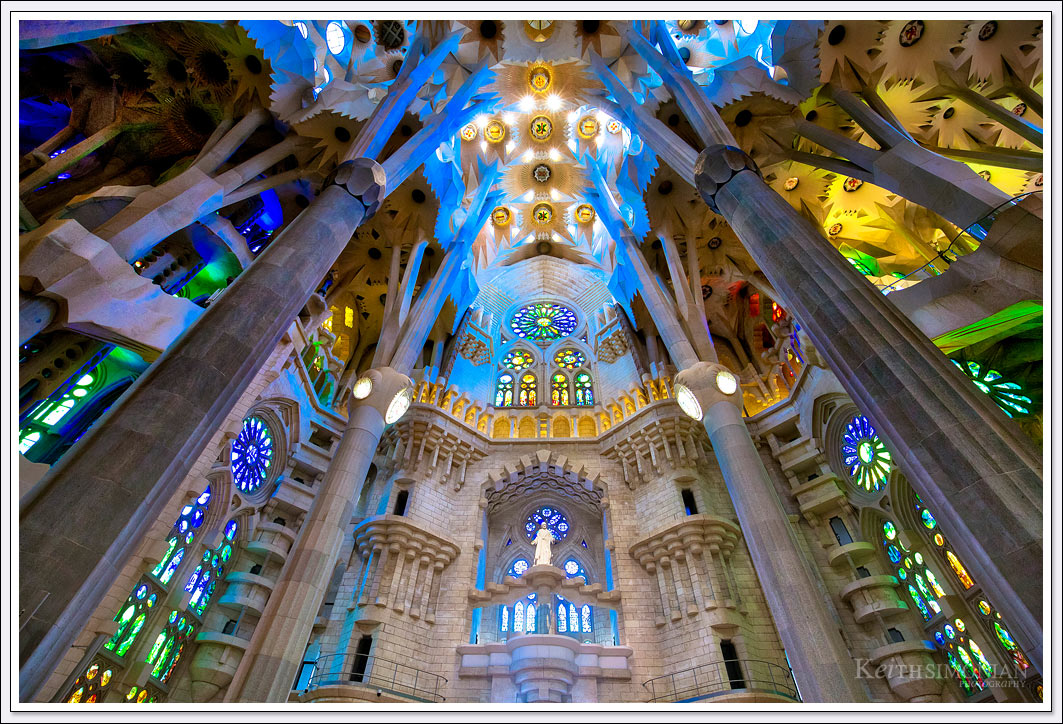 The magnificent colors from the ceiling of the La Sagrada Familia Basilica in Barcelona Spain.