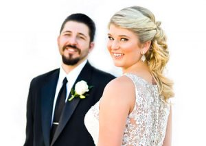 The bride and groom pose for portraits at the San Pedro Dalmatian-American club.