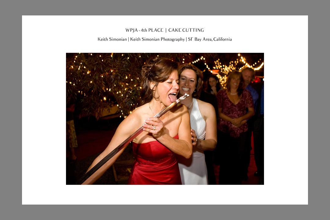 WPJA - Wedding Photojournalist Association Contest - 4th place - Cake Cutting - Keith Simonian Photography