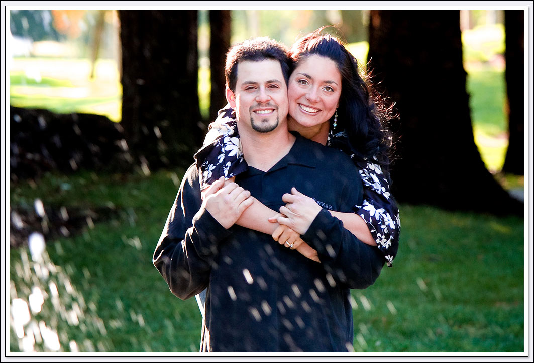 The parks and waterfall of San Ramon make for great engagement photo locations.