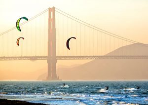 Kite surfing in the San Francisco Bay