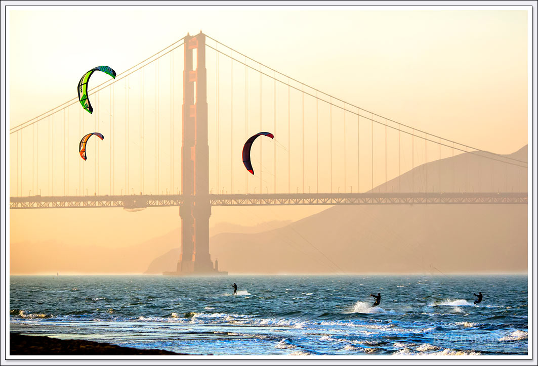 Kite and Wind surfing in the San Francisco Bay with the Golden Gate Bridge as a backdrop.