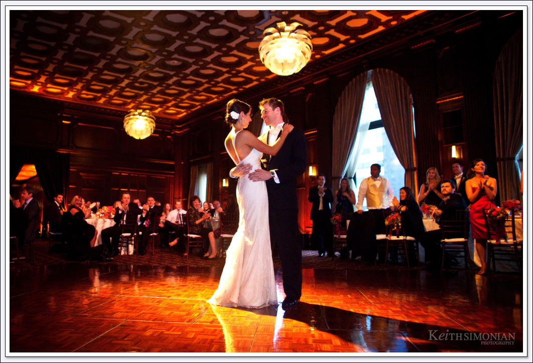 Bride and groom share first dance in Julia Morgan ballroom - San Francisco, CA