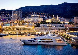 Monte Carlo yacht club at twilight