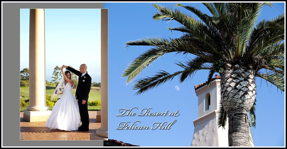 Bride and Groom posing in the Rotunda - Pelican Hill Resort - Newport Coast, California