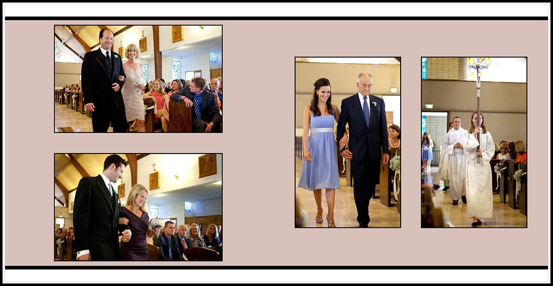 Processional with parents going up the church aisle - Our Lady Queen of Angels Church - Newport Beach, CA