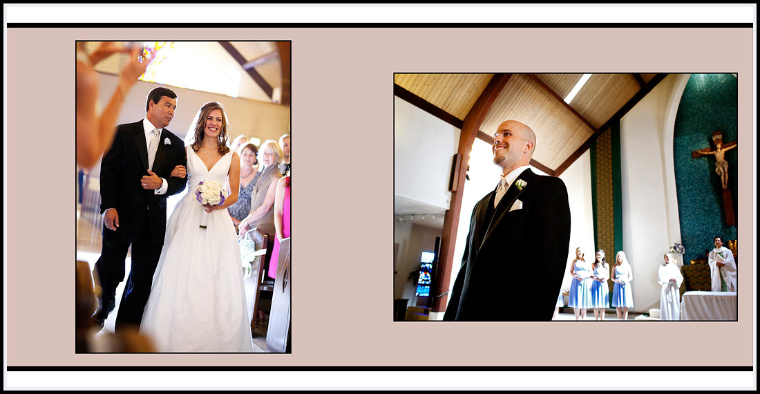 Bride and Father Walking up the Catholic Church aisle - Our Lady Queen of Angels - Newport Beach Wedding
