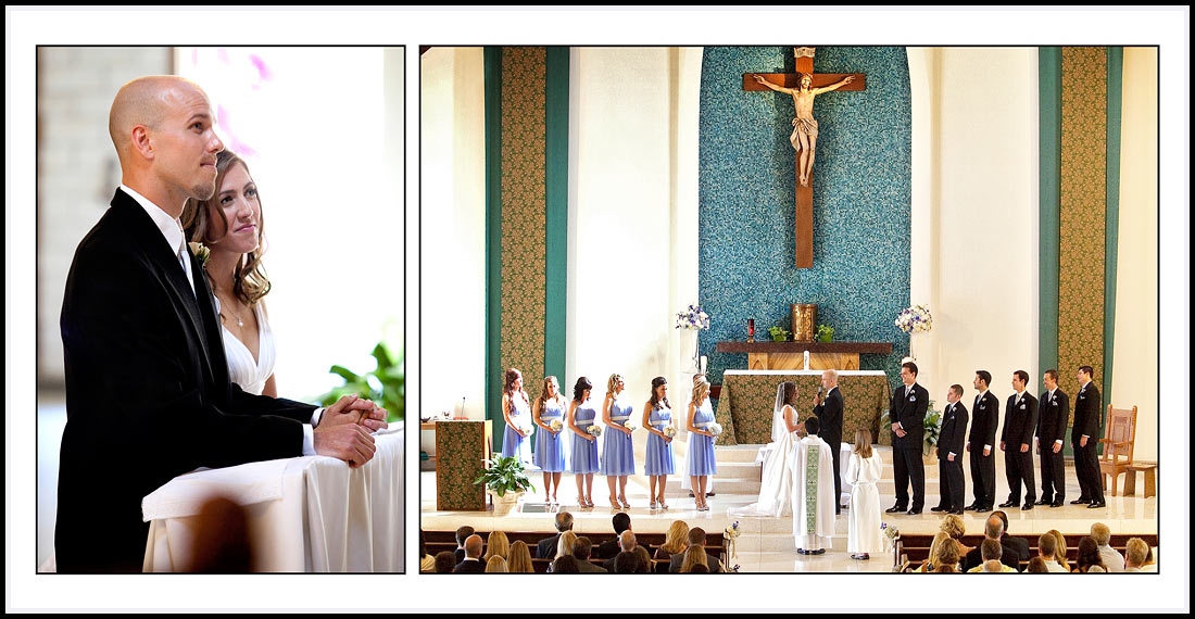 The entire wedding party standing at the alter during mass - Our Lady Queen of Angels Catholic Church - Newport Beach, CA