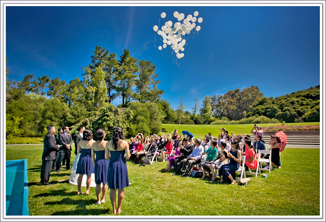 A sunny day greets the guests for the Pulgas Water Temple wedding ceremony.