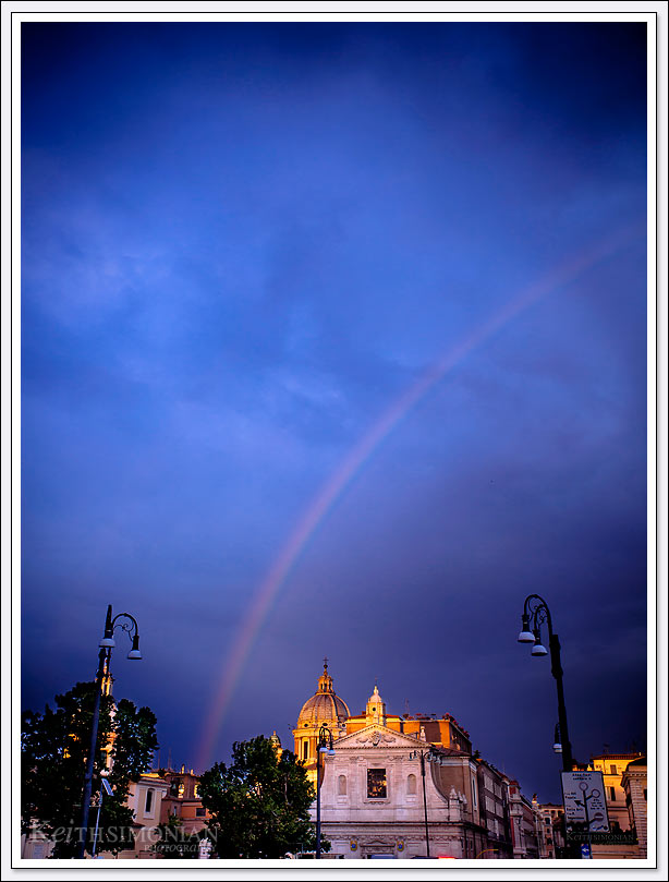 The summer storm caused this rainbow over Rome, Italy
