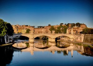 Early morning on the Tiber river in Rome, Italy