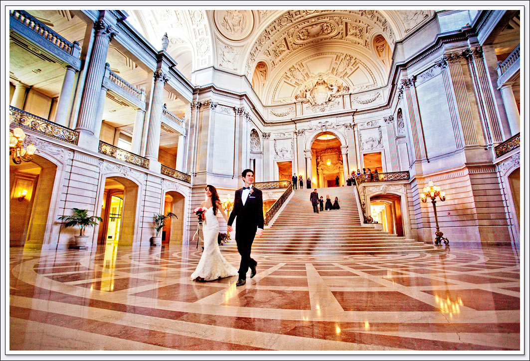 San Francisco city hall offers when of the best backdrops for a pubic or private wedding ceremony.