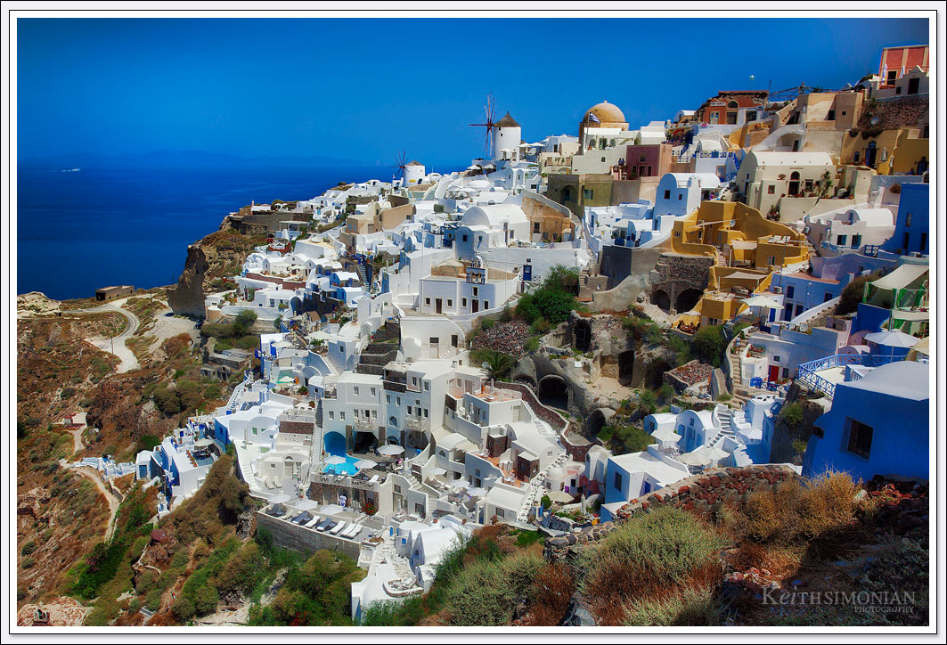 View of the many painted white buildings in Santorini, Greece