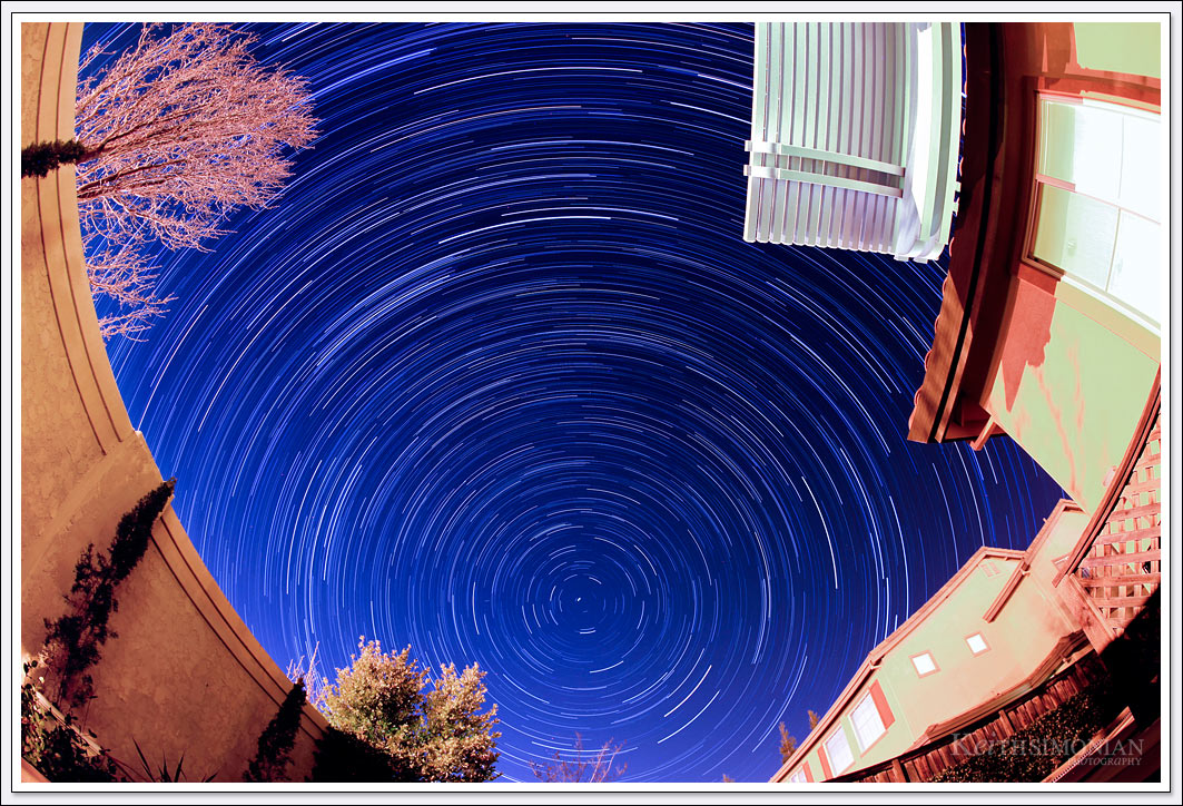 Star trails time lapse with North Star as center of picture - Brentwood, California