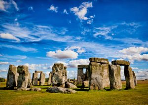 Rare blue sky and calm day at Stonehenge
