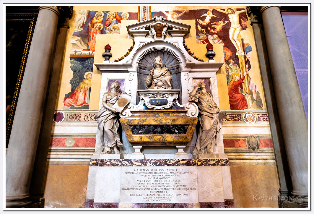 The tomb of Galileo Galilei in the Roman Catholic church Santa Croce in Florence, Italy. Galileo was buried there 78 years after his death.