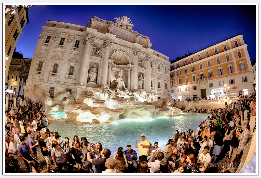 The Trevi Fountain is one of the most famous spots in Rome Italy. As such many visitors view the fountain which leads to much congestion around the fountain.