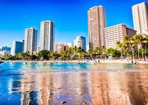 World famous Waikiki beach Hawaii
