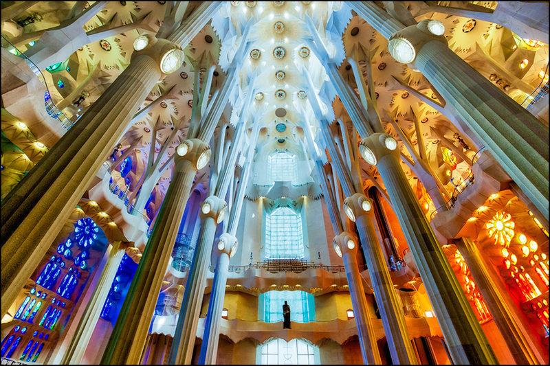 Rear view of La Sagrada Familia Basilica - Barcelona Spain