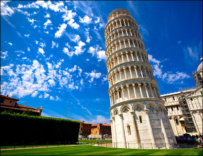 Leaning Tower of Pisa viewed from the less popular side.
