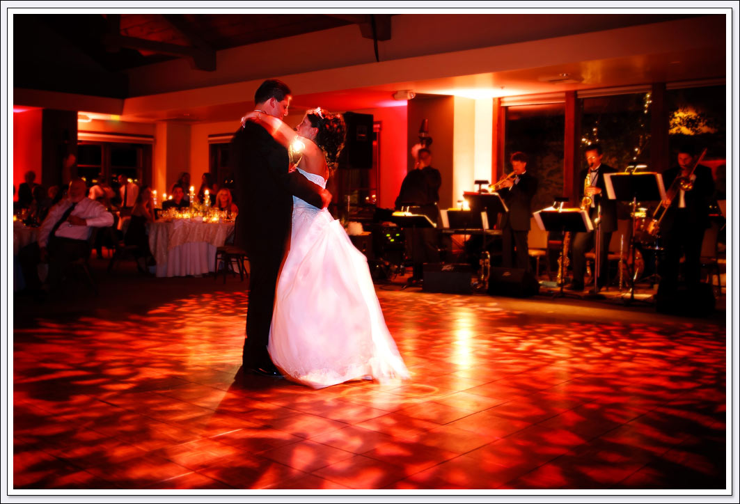 Bride and Groom's first dance during wedding reception at Wine and Roses in Lodi, CA.