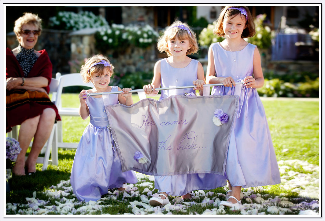 Flower girls with Here Comes the Bride sign - Clos LeChance Winery - San Marin, California