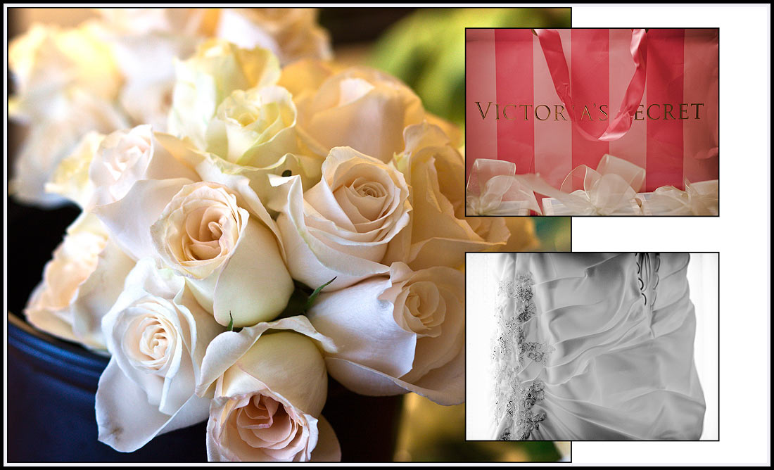The bride's bouquet consisted of white roses.