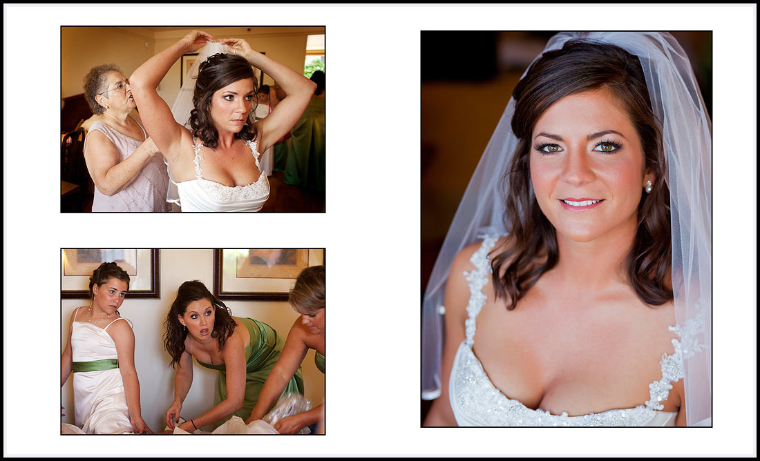 Bride getting ready and bridal portrait - Monterey - Pacific Grove wedding.