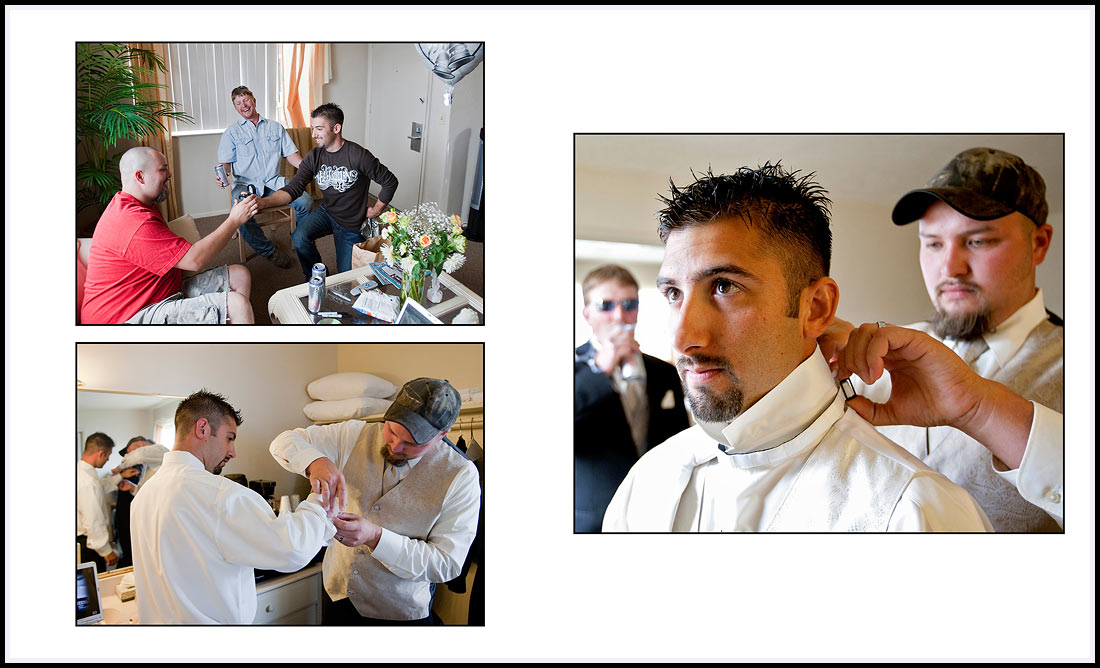 Groom and groomsmen getting ready before wedding ceremony - Monterey, CA