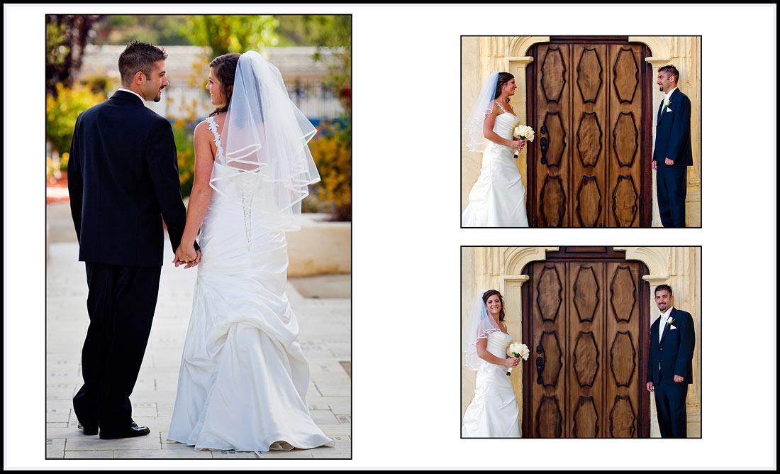 Bride and Groom holding hands in Monterey California
