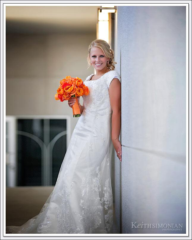 Bridal portrait at Oakland California LDS temple.