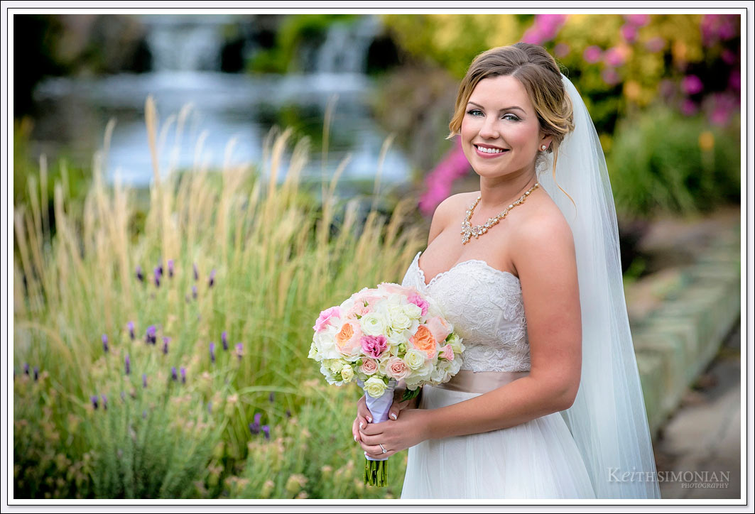 Flowers in bloom as background for Bridal portrait - Wedgewood in Brentwood, California